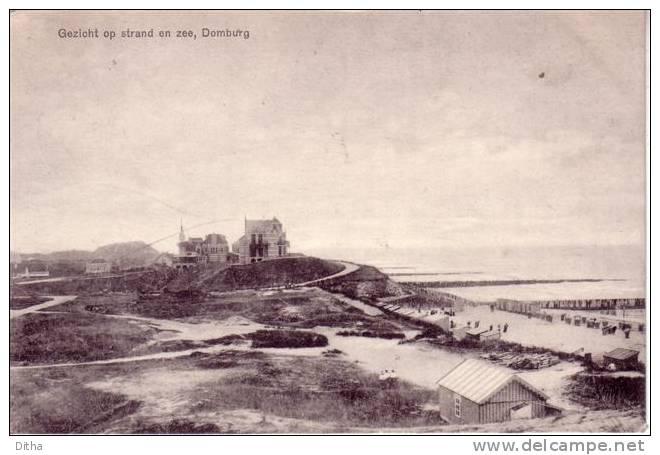Domburg als badplaats in de geschiedenis - kaart van zicht op strand en in zee in Domburg