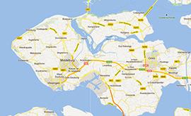 In de omeving van Domburg - kaartje eiland Walcheren
